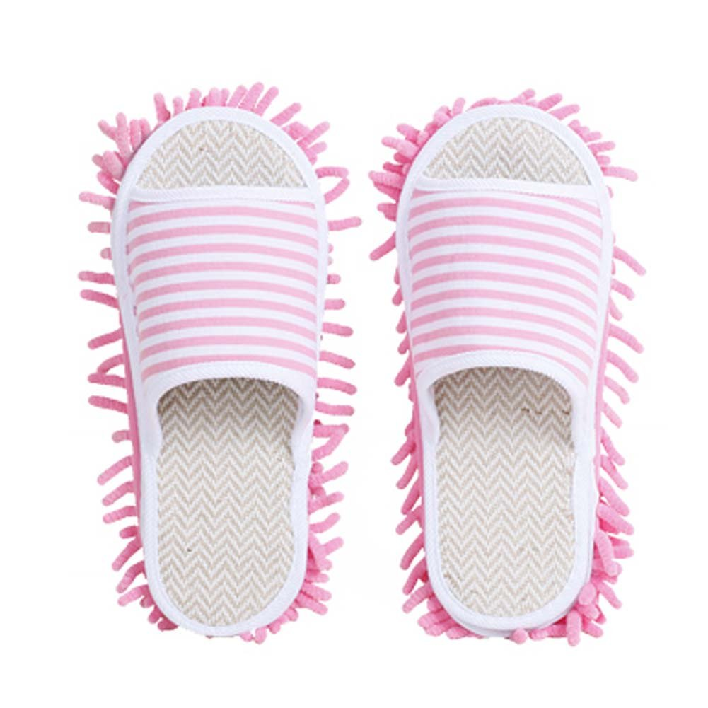 Unisex Microfiber Slipper Magic Cleaning Slippers Home Wiping Slippers [Pink]