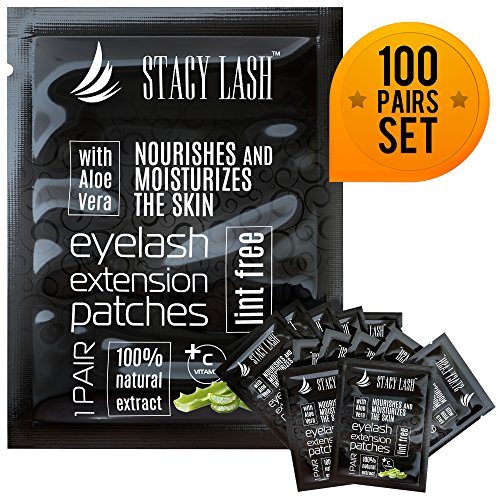 100 Pairs Set Premium Under Eye Gel Pads for Eyelash Extension - Lint Free Patches with Vitamin C and Aloe Vera by Stacy Lash supplies and Beauty tools - Hydrogel Eye Pads - Skin Moisturizes (Lift Free Eye)
