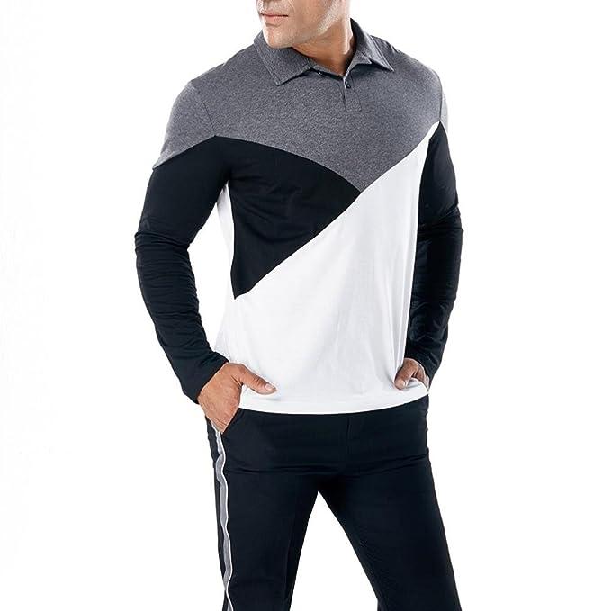 Camiseta Manga Larga Delgada Ocasional de los Hombres de la Moda Blusa Superior del músculo Poloshirt