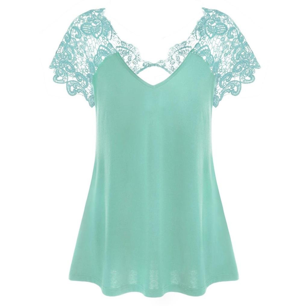 FNKDOR Summer Sexy Yoga Party Womens Fashion V-Neck Plus Size Lace Short Sleeve Trim Cutwork T-Shirt Tops