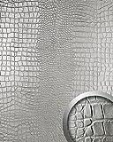 WallFace 13800 CROCO NOVA Wall panel leather 3D interior decoration luxury wallcovering self-adhesive Platin | 2,60 sqm
