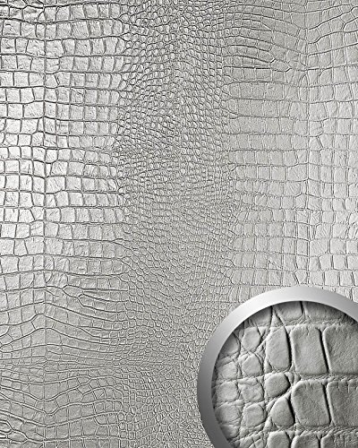 WallFace 13800 CROCO NOVA Wall panel leather 3D interior decoration luxury wallcovering self-adhesive Platin | 2,60 sqm by Wallface (Image #1)