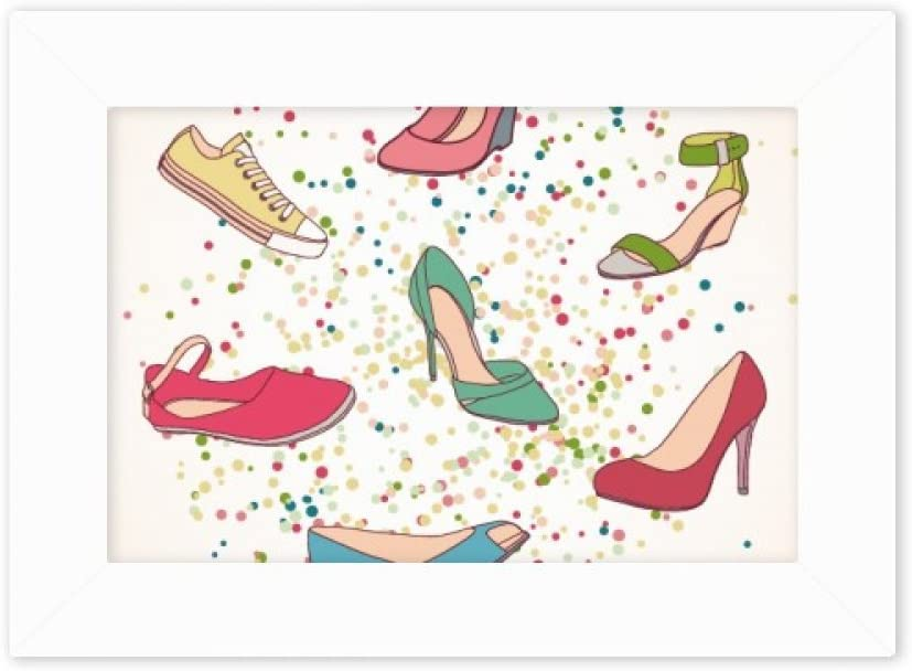 Amazon Com Diythinker Colorful Cartoon High Heels Shoes Pattern Photo Mount Frame Picture Art Painting Desktop 5x7 Inch