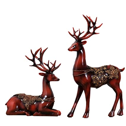 olpchee 2pcs christmas reindeer resin sculpture individuality deer figurine statue home office decor statues imitation