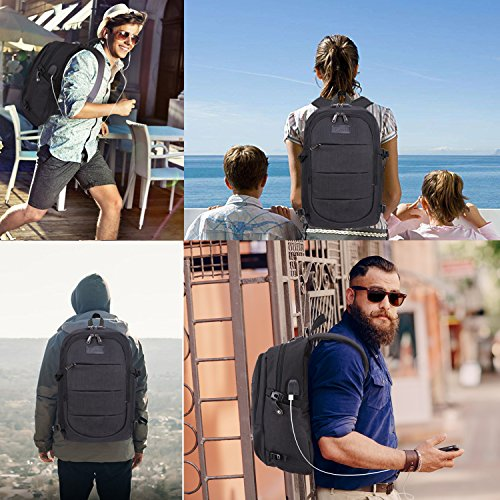 Tzowla Business Laptop Backpack Water Resistant Anti-Theft College Backpack with USB Charging Port and Lock 15.6 Inch Computer Backpacks for Women Men, Casual Hiking Travel Daypack (Black) by Tzowla (Image #7)