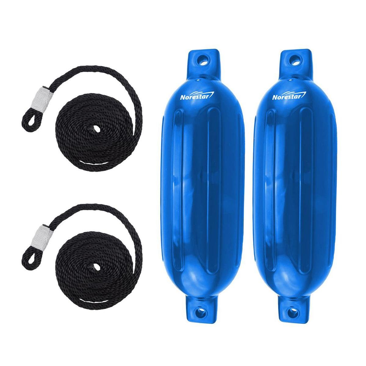 Norestar 2-Pack, 5.5'' x 20'' Ribbed Fender Deflated with 2 Fender Lines for Boat or Dock (Blue) by Norestar