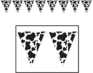Cow Print Pennant Banner Party Accessory (1 count) (1/Pkg)