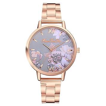 Lomsarsh Relojes de cuarzo para mujer, moda de oro rosa, estampado ...