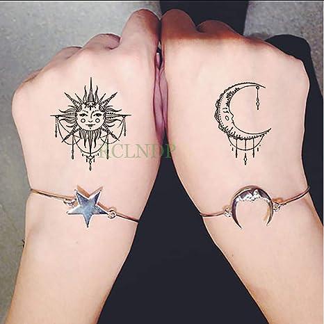 tzxdbh Impermeable Etiqueta Engomada del Tatuaje Temporal Sol Luna ...