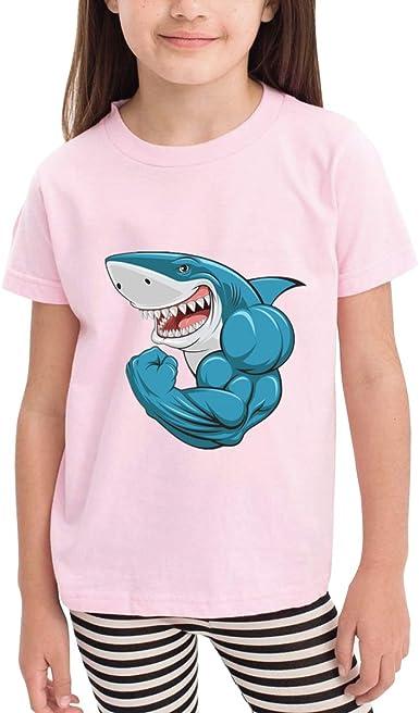 Blue Muscular Shark 100/% Cotton Toddler Baby Boys Girls Kids Short Sleeve T Shirt Top Tee Clothes 2-6 T