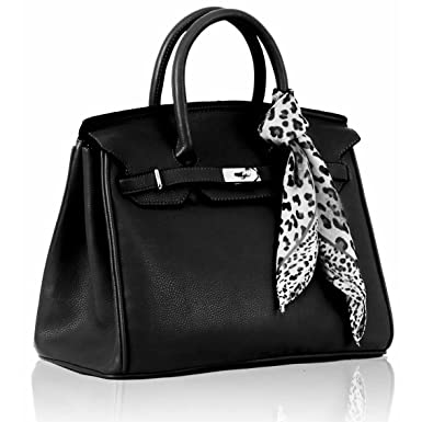 5bb5d47bacb6e KCMODE Damen Office Tasche mit Schal Leder Style Smart Handtasche schwarz