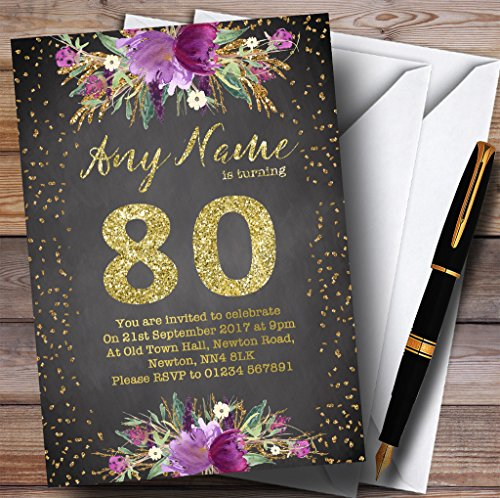 Chalk Watercolour Purple Gold 80th Personalized Birthday Party Invitations
