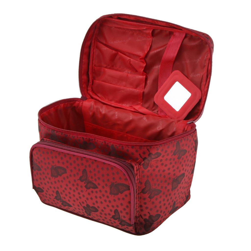 Baoblaze Imperméable Coffret de Rangement pour les Outils Nail Art Beauty Case Boîte Cosmétique Sac de Maquillage Professionnel - 22x16x17cm - Gris papillon