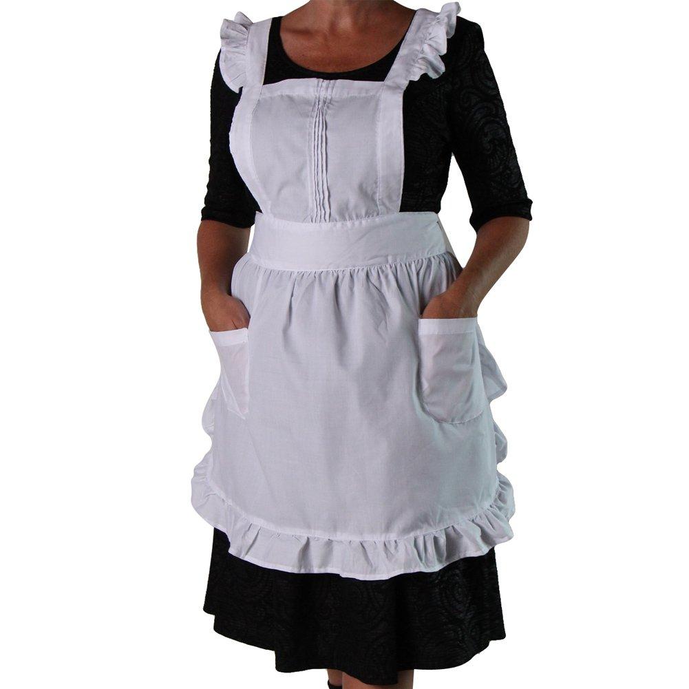 White ruffle apron amazon - Amazon Com Teen Or Women S White Ruffled Pinafore Apron Smock Home Kitchen