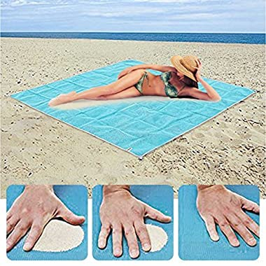 Kamo Sand Free Beach Mat - Dirt & Dust Disappear.Sand Proof Blanket for Beach,Picnic,Park,Camping & Hiking,Family Trips and Outdoor