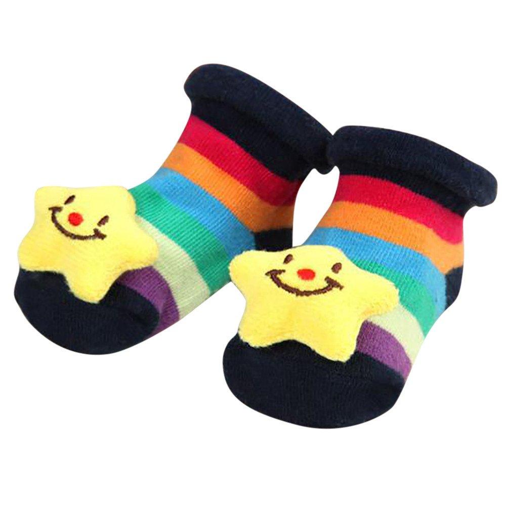 ❤️ Mealeaf ❤️ Cartoon Newborn Baby Girls Boys Anti-Slip Socks Slipper Shoes Boots(0-12months)