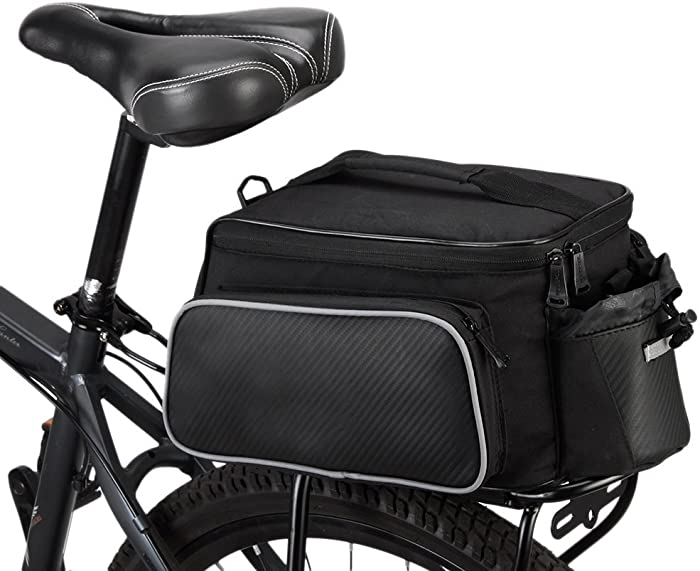 BLUETOP Bicycle Rear Seat Rack Trunk Bag Bike Cargo Bag Bicycle Cycling Luggage Bag Shoulder Strap Bag Handbag Outdoor Travel Tote | 3 Side Reflective Strip | Bottle Pocket | Strong Velcro | 2 Colors