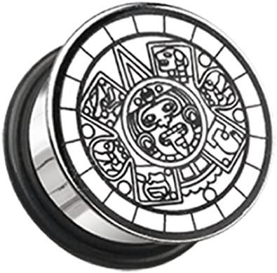 Mayan Calender Plate Hollow Back Single Flared Ear Gauge Freedom Fashion Plug Sold by Pair