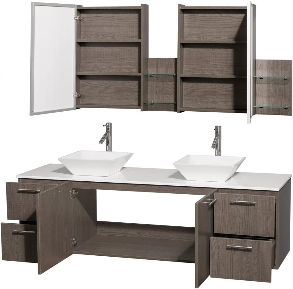 Wyndham Collection Amare 72 inch Double Bathroom Vanity in Gray Oak with White Man-Made Stone Top with White Porcelain Sinks, and Medicine Cabinets