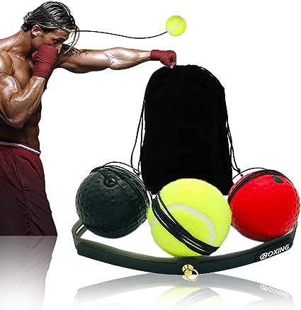 Reflexe Ball Set,Boxe Balle,Ballon De Boxe Speed Training Ball Head-Mounted Punching Ball,Pour La Formation De Vitesse R/éflexe Ball Exercice Entra/înement