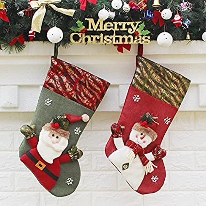 2 pcs classic christmas stockings 18 inch santas toys cute stockings plush 3d applique style felt - Classic Christmas Stockings