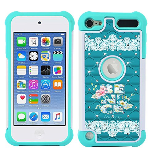 iPod Touch Case, iPod Touch 5 Case, iPod Touch 6 Case, MagicSky [Shock Absorption] Studded Rhinestone Bling Hybrid Dual Layer Armor Defender Protective Case Cover For iPod Touch 5th / 6th Gen-BE NICE