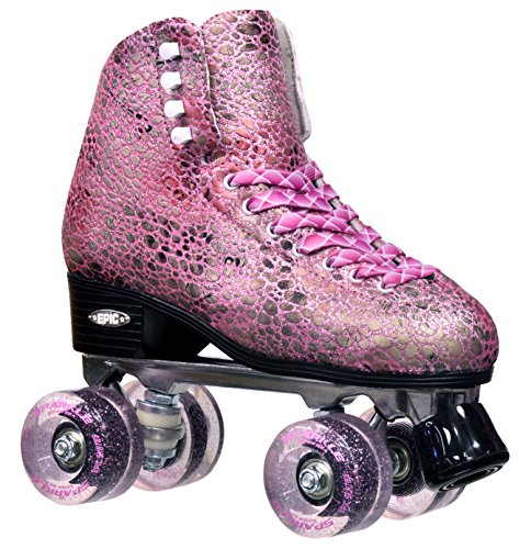 Epic Skates 2016 Epic Sparkle Pink High-Top Quad Roller (Women Quad Roller Skates)