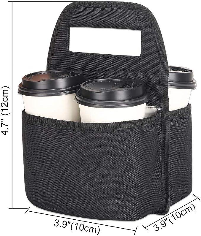 Getr/änkehalter Milchteedose faltbare Tragetasche mit Organizer-Taschen 4 F/ächer schwarz Tragbarer Kaffee-Becherhalter f/ür hei/ße und kalte Getr/änke