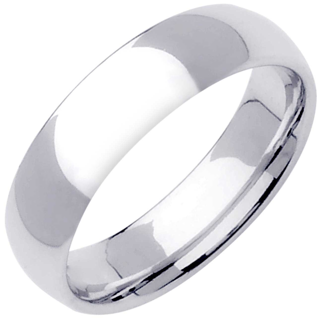 18K White Gold Traditional Classic Men's Comfort Fit Wedding Band (6mm) Size-9c1