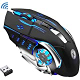Xmate Zorro Pro 3200DPI, Rechargeable 2.4Ghz Wireless Gaming Mouse with USB Receiver, 6 Button, 7 Colors Backlit for Computer PC, Laptop, 600Mah Lithium Battery with ABS Body for Gamers (Black)