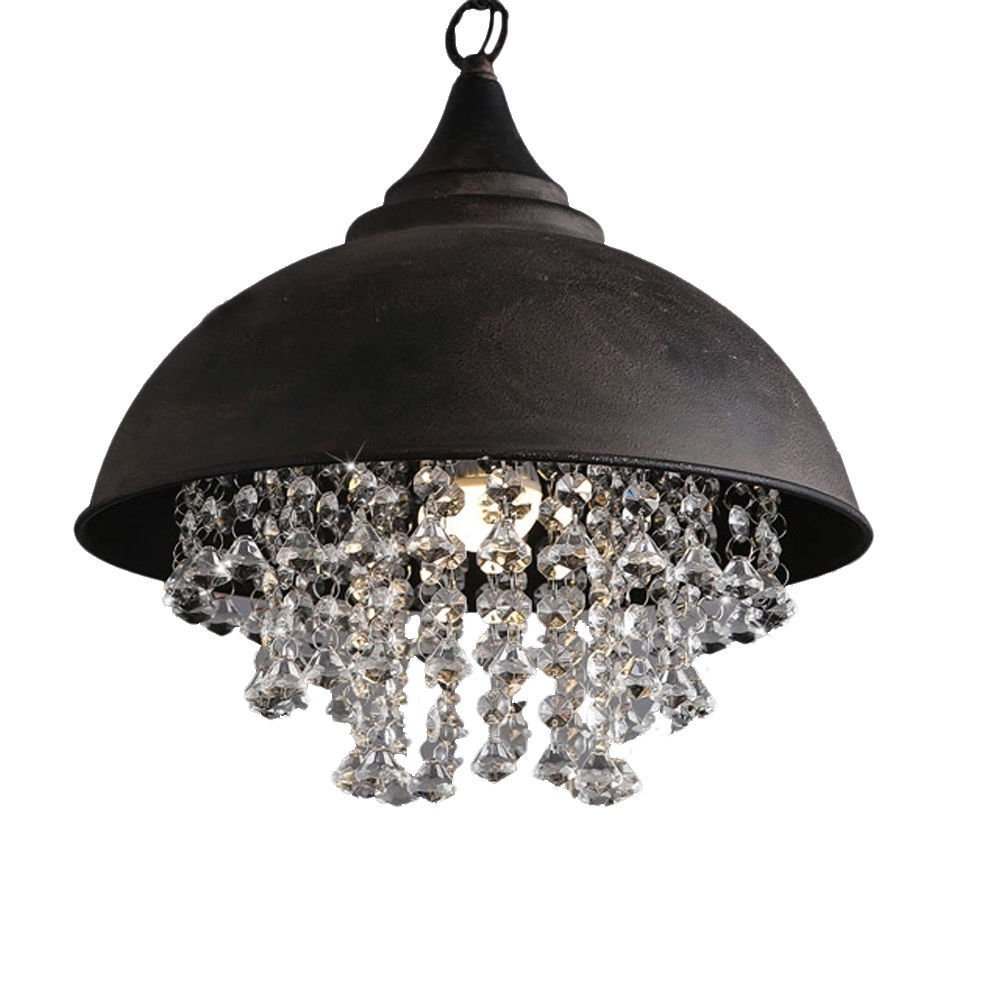 Industrial wrought iron vintage retro crystal pendant light industrial wrought iron vintage retro crystal pendant light litfad adjustable 14 edison metal hanging ceiling light chandelier with hanging crystal arubaitofo Images