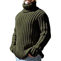 Ryannology Mens Thick Loose Fit Turtleneck Sweater Ribbed Cable Knit Pullover Sweater Jumper