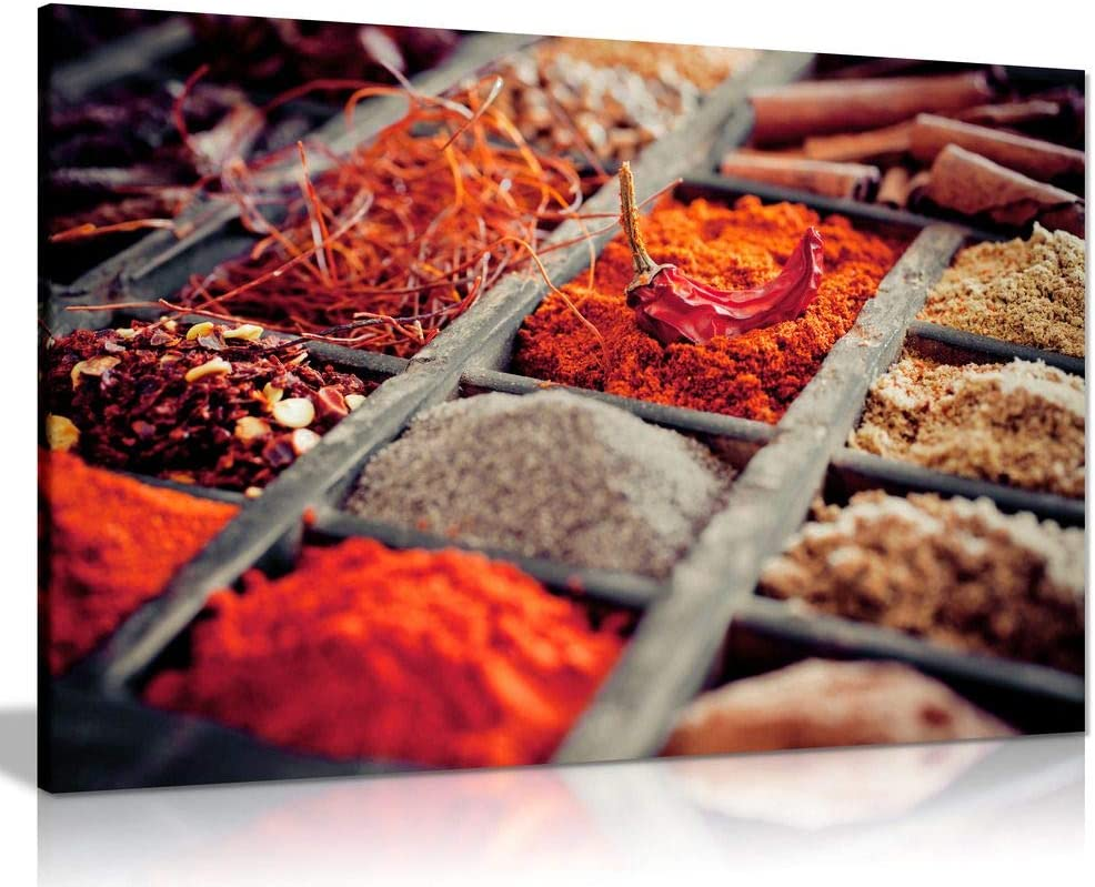 Indian Spices Herbs Food Kitchen SINGLE CANVAS WALL ART Picture Print