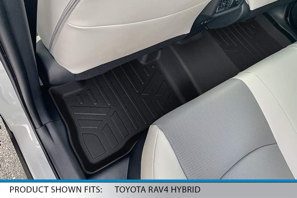 SMARTLINER All Weather Custom Fit Floor Mats 2nd Row Liner Black for 2019-2021 Toyota Rav4 Hybrid
