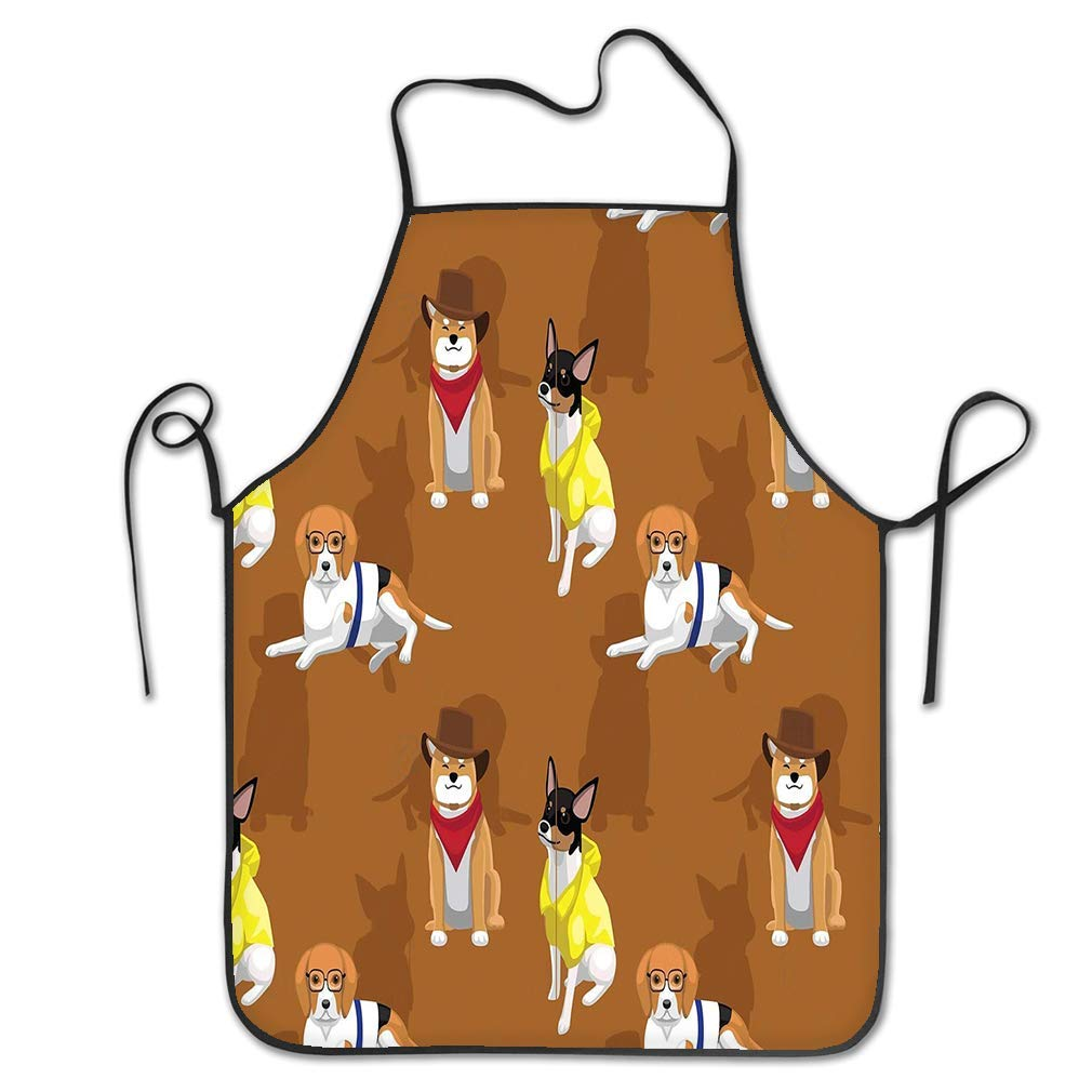 qidushop Novelty Kitchen Apron For Women Animal Wallpaper Eps File Format Dog Cowboy Clothes Seamless Pattern Bbq Cooking Apron For Men