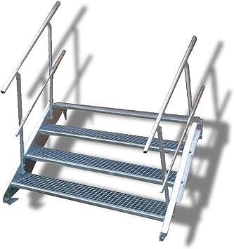 Escalera de acero con 4 peldaños y barandilla por ambos lados, altura de planta 55 – 85 cm, Gris: Amazon.es: Bricolaje y herramientas