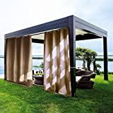 gazebo curtains lowes 100 Outdoor Curtain Panel Privacy for Patio - DECORHOME Antique Bronze Grommet Blackout Mashable Water Repellent Curtain with Rope Tieback (Deep Khaki, 100W