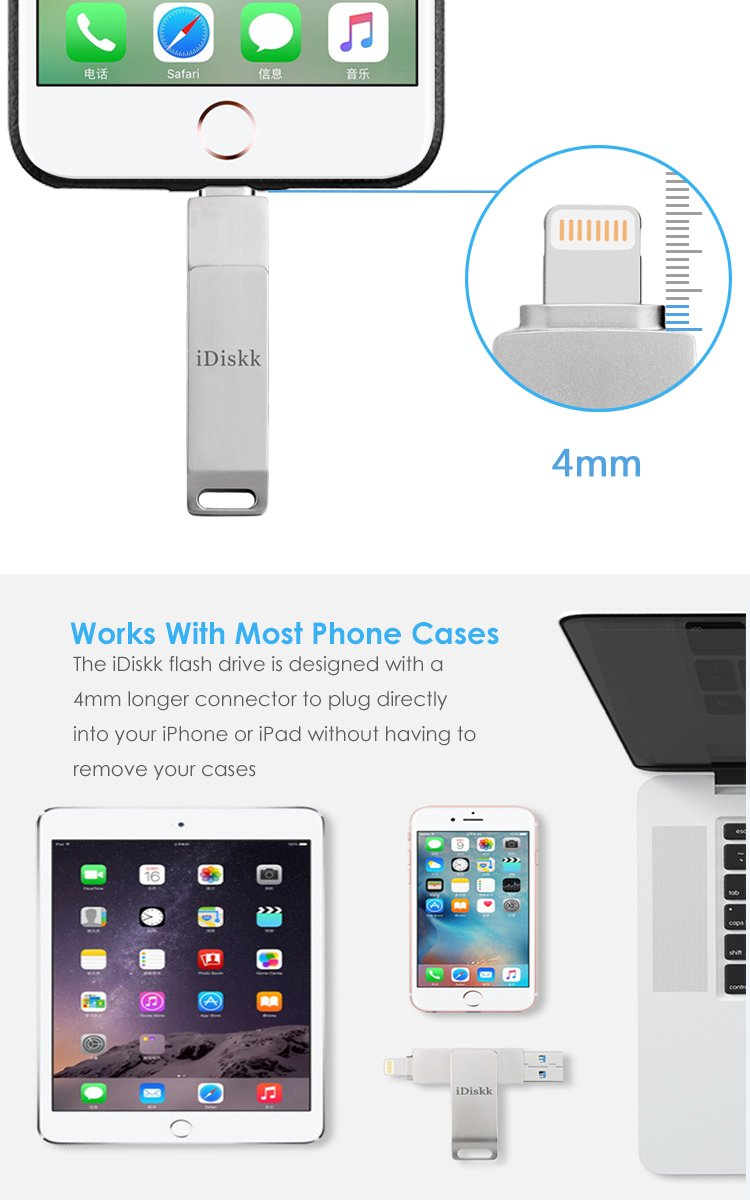 iDiskk iPhone Flash Drive 256GB ipad External Storage Photo Stick for iPhone X XR XS Max and New ipad pro pc MacBook Jump Drive with Touch id encryption (2 Years Warranty) by iDiskk (Image #6)