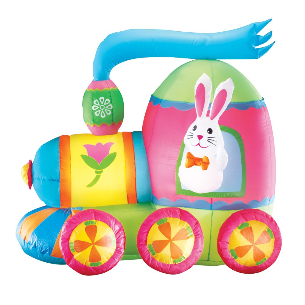 Collections Etc Inflatable Easter Bunny Train Outdoor Yard Decoration - 4' Long