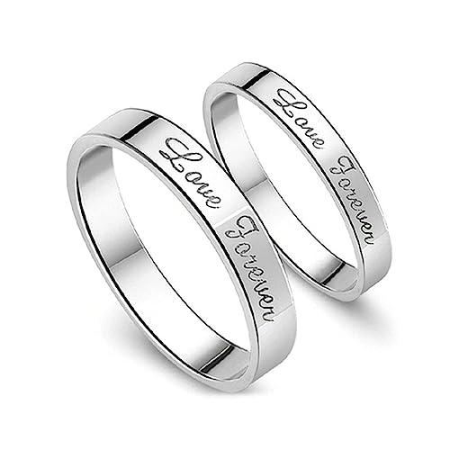 Aooaz Mens anillos plata de ley anillos boda banda anillo de promesa Love Forever compromiso aniversario