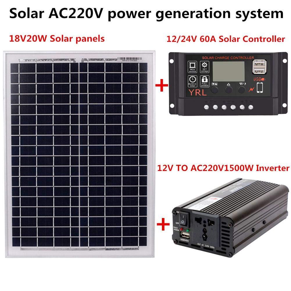 Wechselrichter Solarregler Wechselrichter feiledi Trade Solarpanel-Set Solar-Controller 60 A AC 220 V Wechselrichter Solarmodul 24 V 60 A 12 V 1500 W 24 V Solar-Regler 12 V