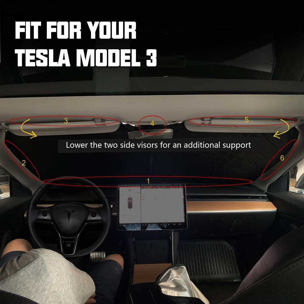 Sun Shade Auto Windshield Reflective Cover Sun Visor with Elastic Rope, ROCCS Tesla Model 3 Model Y Front Sunshade Protector