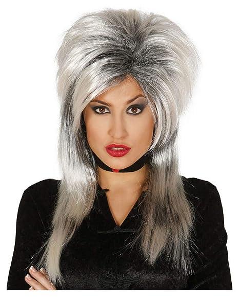 Horror-Shop Bruja peluca gris-negro