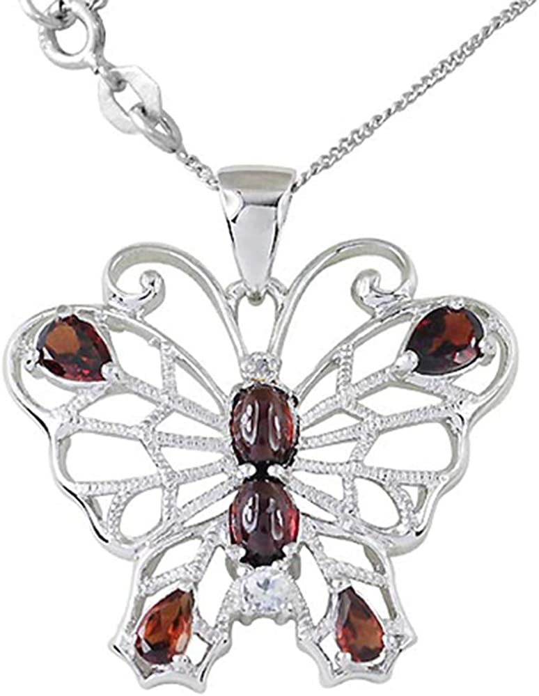 Chain Length 18 ORCHID JEWELRY MFG INC 2.74 CTTW Genuine Garnet White Topaz Diamond Modern and Stylish Necklace in 925 Sterling Silver
