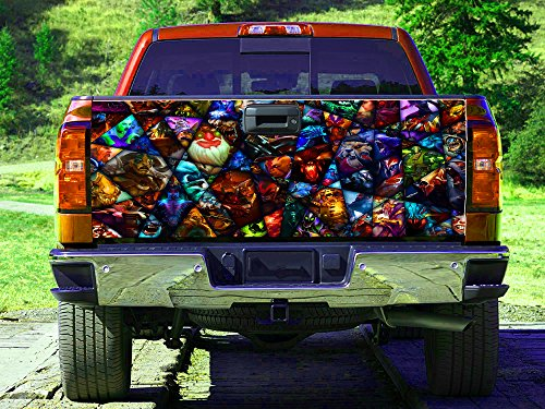 Collage computer game Tailgate Wrap, Truck Decal, Tailgate Sticker gc3057