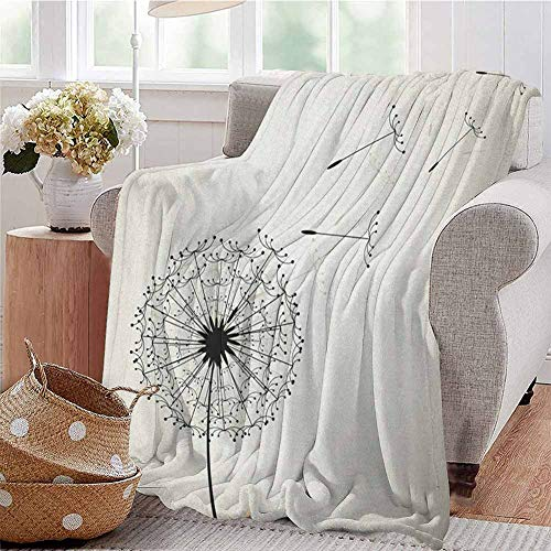 Luoiaax Dandelion Commercial Grade Printed Blanket Flying Flower Seeds and Blossom Fragility and Growth Inspired by Nature Queen King W60 x L70 Inch Black and Beige