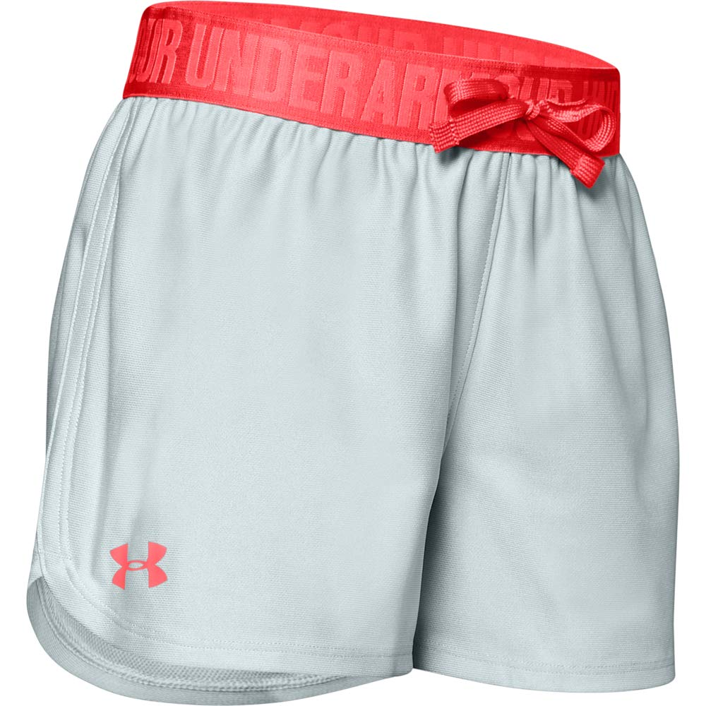 Under Armour Girls' Play Up Workout Gym Shorts, Mod Gray (013)/Daiquiri, Youth X-Large by Under Armour