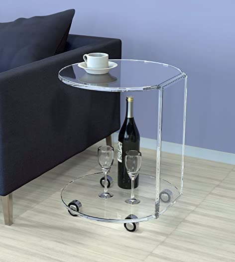 ONELUX Waterfall Acrylic C Table,Lucite Occasional Side Tea Table On Wheels Clear