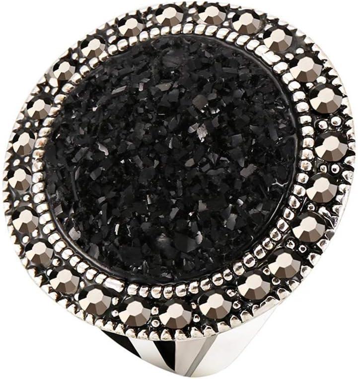 Anillo Piedras Preciosas Negras Plateadas Diamantes de imitación Unisex