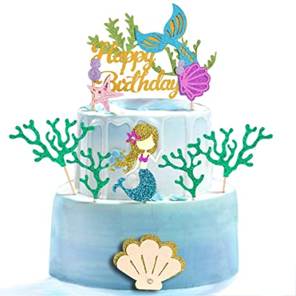 Mermaid Cake topper Age Cake topper Under the Sea Cake topper Seashell cake topper Little Mermaid party deco Shell Cake topper